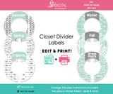 Mint & Gray Arrows Printable Closet Dividers