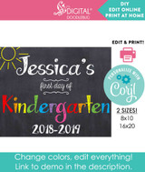 Editable first day of school printable PDF digital file