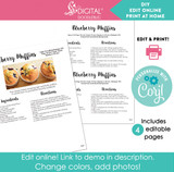 Basic white printable recipe pages. Editable online with corjl.