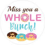 Miss you a whole bunch donut labels for sealing card envelopes