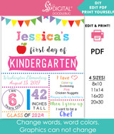 Editable PDF white first day of school sign