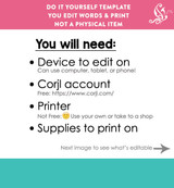 CORJL Editable Boys Back to School Sign White Printable Poster + PDF