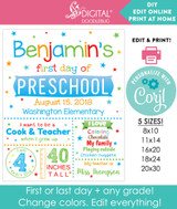 First day of school editable poster in white