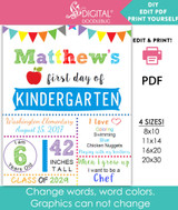 Printable back to school sign for boys