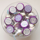 Purple Baby shower favor stickers for a girl