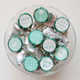 Mint Baby shower favor stickers for a boy