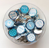Blue Baby shower favor stickers for a boy