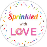 Sprinkled with love stickers donut wedding favor labels