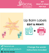 Printable lip balm label favors for ocean or beach wedding theme