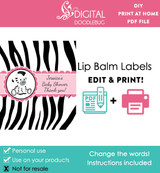 Printable lip balm label favors for zebra girls baby shower in pink
