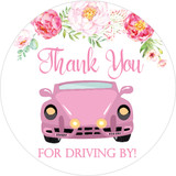 Thank you for driving by baby shower or wedding favor stickers