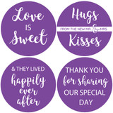 Wedding favor stickers in purple hugs and kisses from the mr and mrs