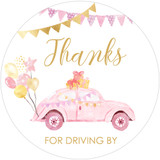 Thank you for driving by DIY pink & gold girl baby shower favor stickers for drive thru