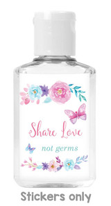 share love not germs butterfly baby shower DIY favor sanitizer stickers