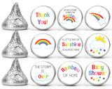 Rainbow gender neutral Baby shower mini candy favor stickers