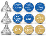 Retirement stickers party decorations for mini candy favors in blue and gold