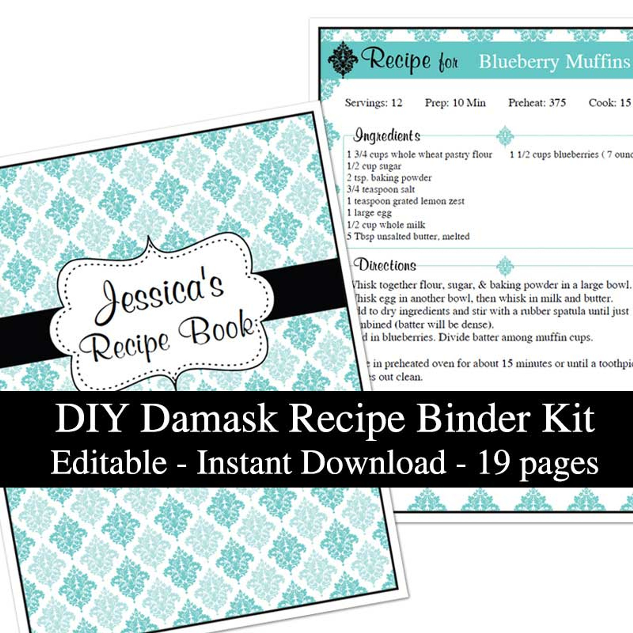 photograph relating to Printable Recipe Book titled Blue Damask Printable Recipe Reserve Template Editable PDF