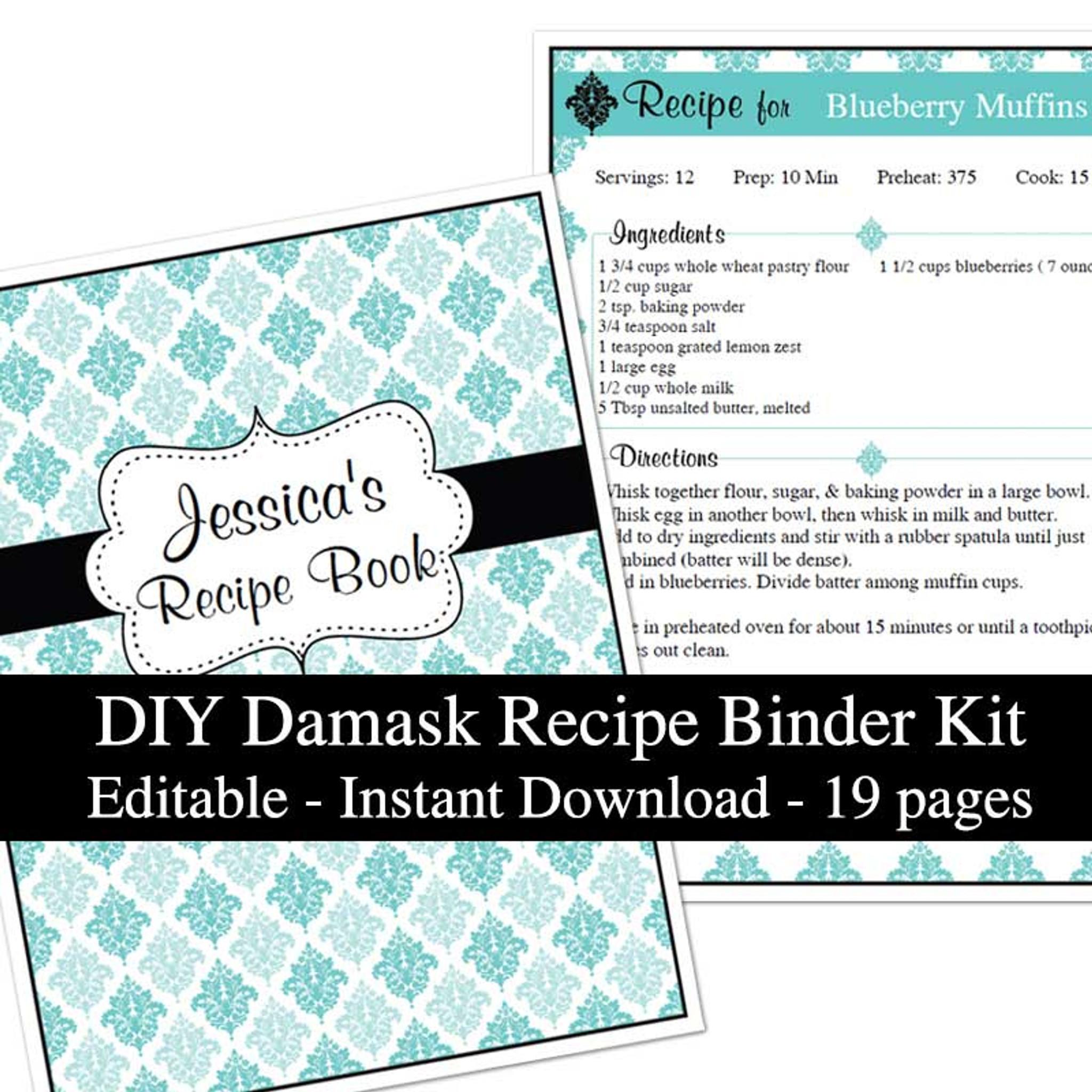 Blue Damask Printable Recipe Book Template Editable PDF