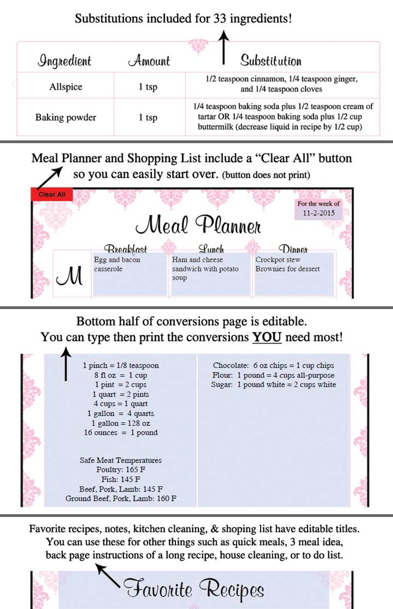 photo relating to Printable Recipe Book known as Red Damask Printable Recipe Guide Template Editable PDF