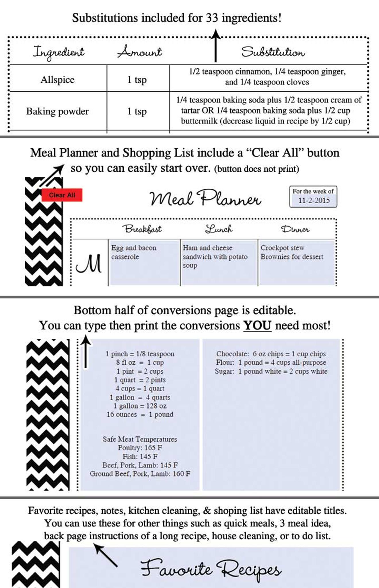 black chevron printable recipe book template editable pdf