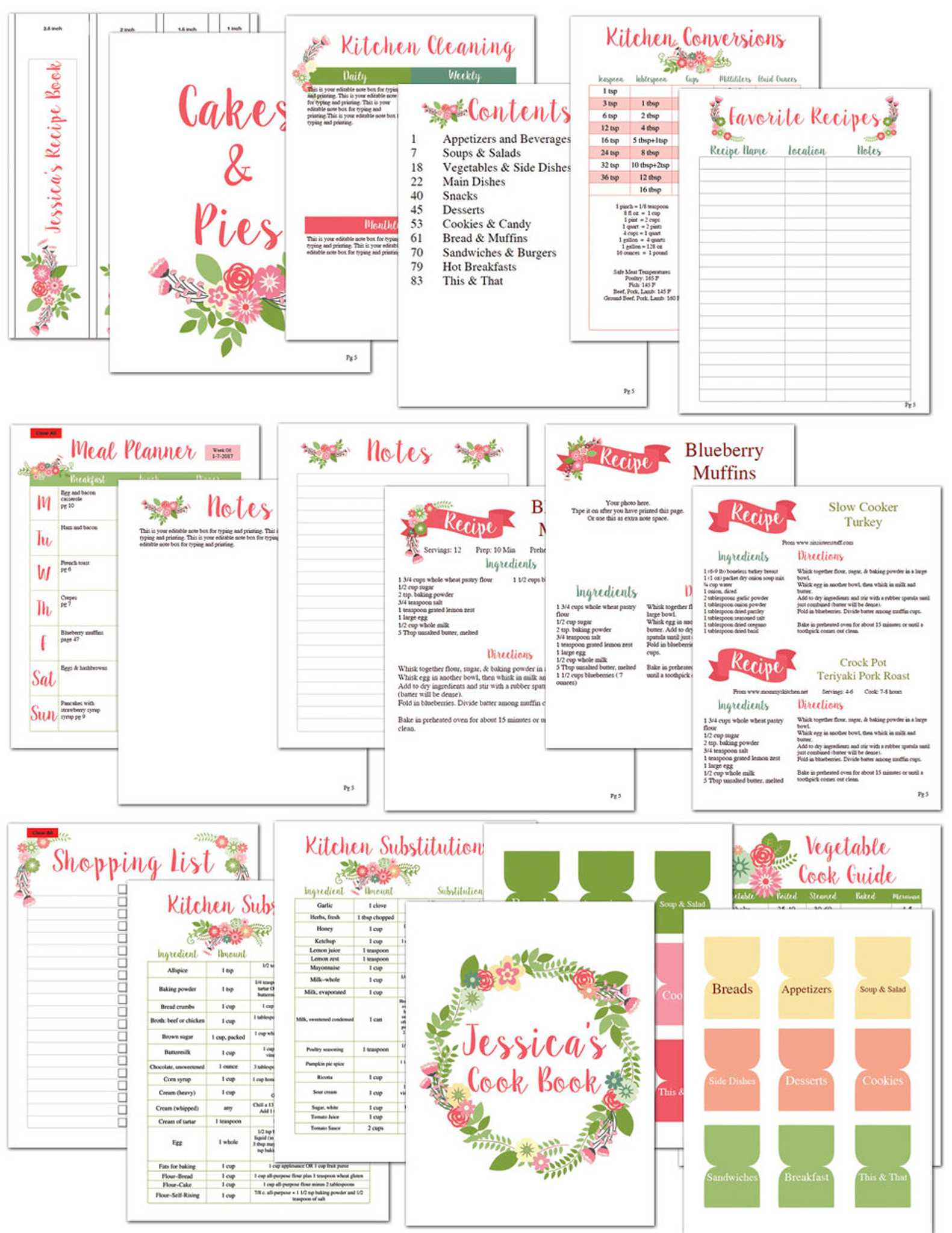 image relating to Printable Recipe Book named Flower Printable Recipe E book Template Editable PDF
