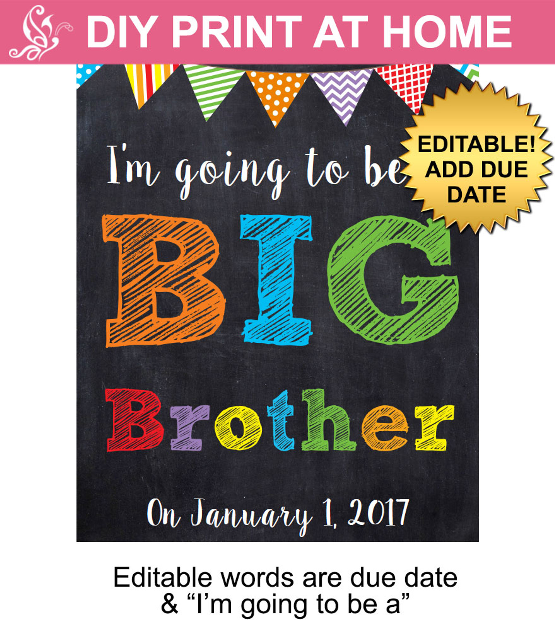 Race Car driver Pregnancy announcement  Big Brother  When I grow up  photo prop  Pregnancy sign  PDF you edit with ADOBE READER