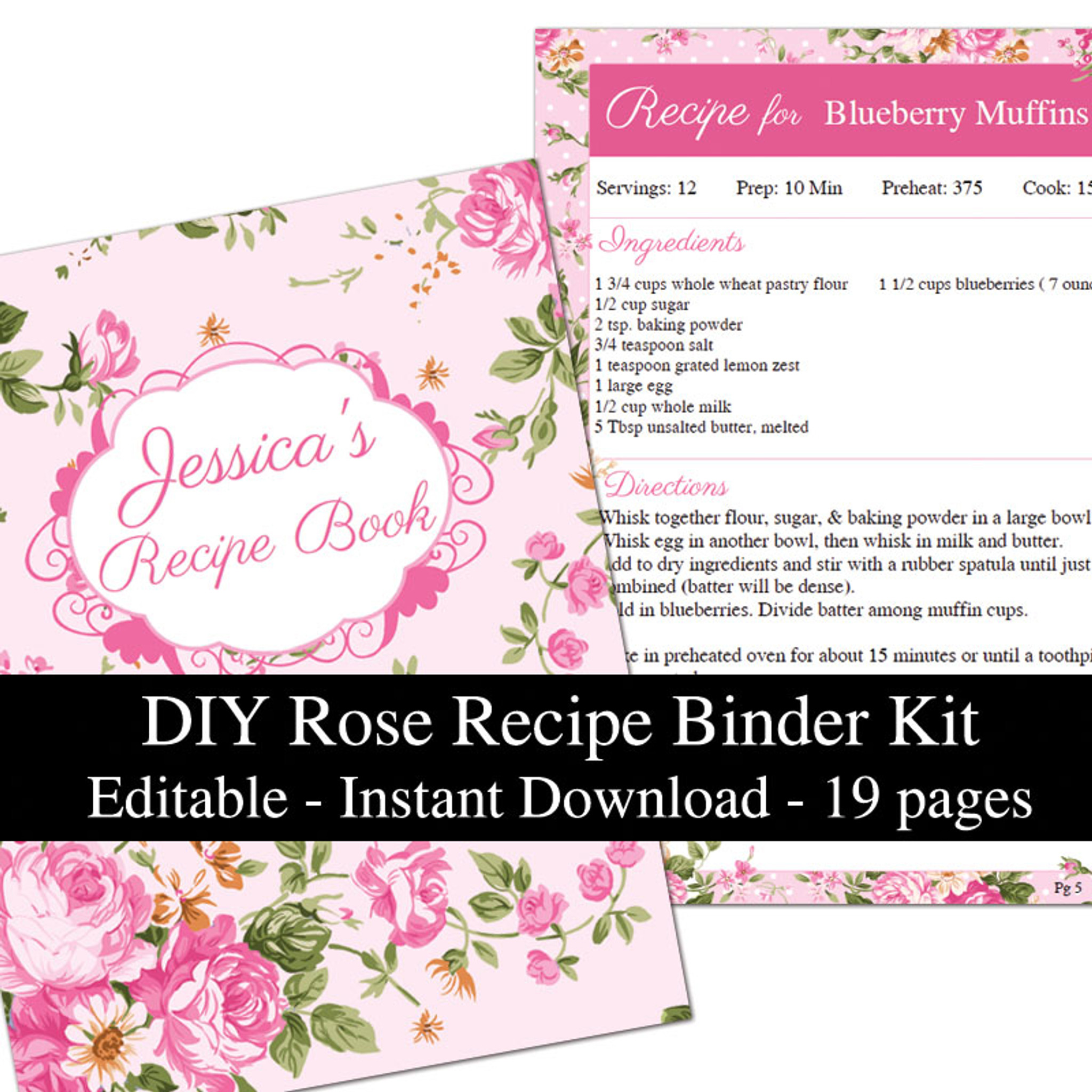 picture about Printable Recipe Book called Crimson Roses Printable Recipe Ebook Template Editable PDF