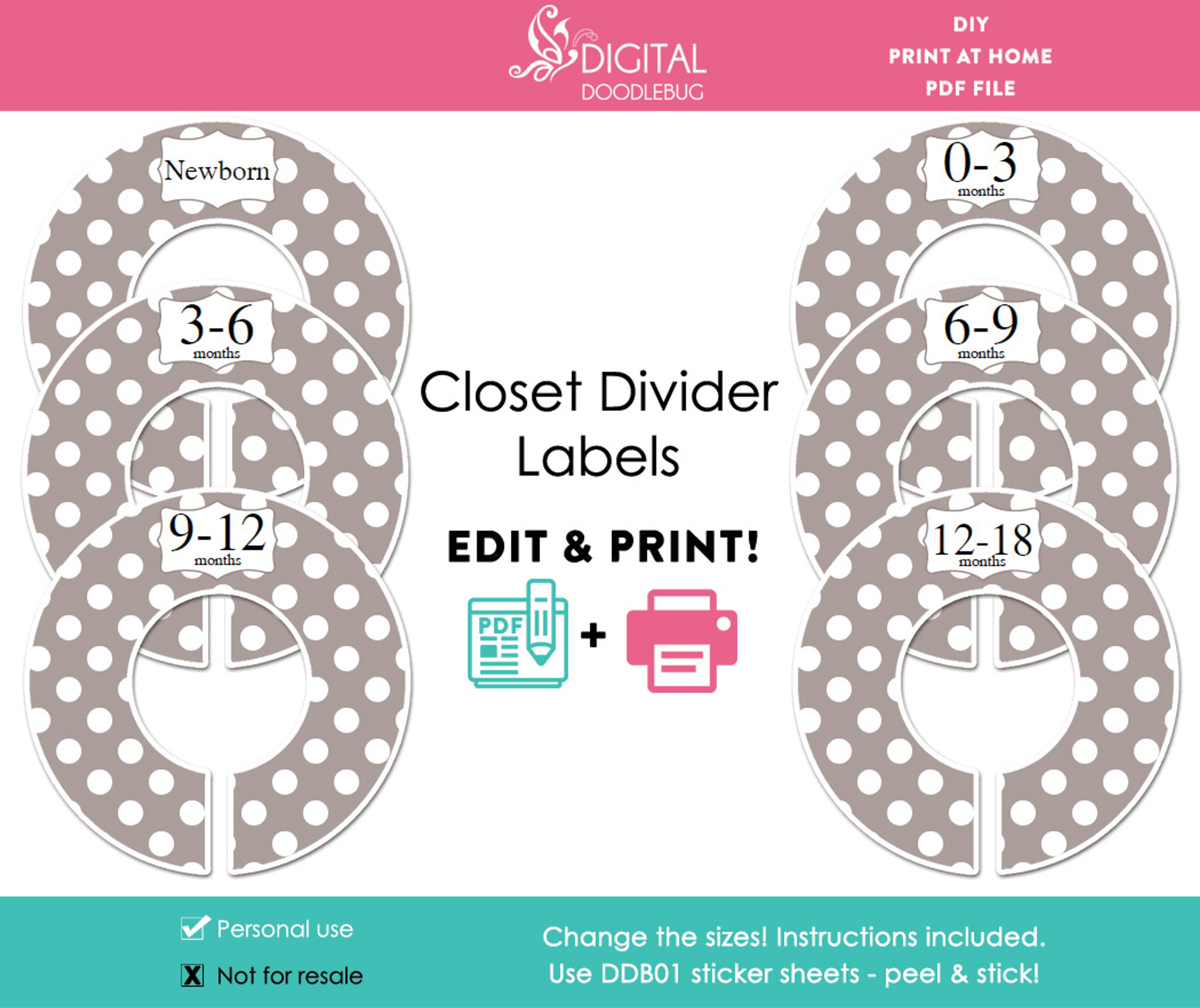 picture regarding Printable Dividers called Grey Polka Dot Printable Closet Divider Label Template