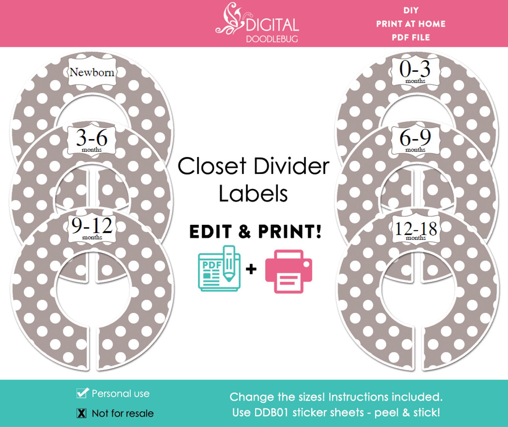 picture regarding Printable Dividers called Grey Polka Dot Printable Closet Divider Label Template