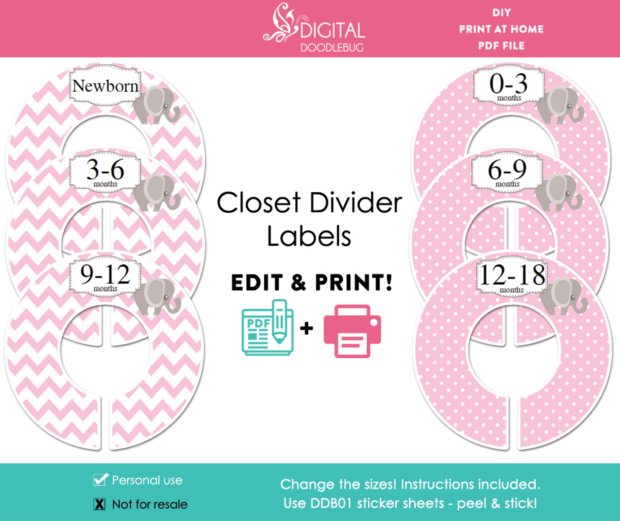 Printable Baby Closet Dividers Part - 17: Pink Elephant Printable Closet Dividers