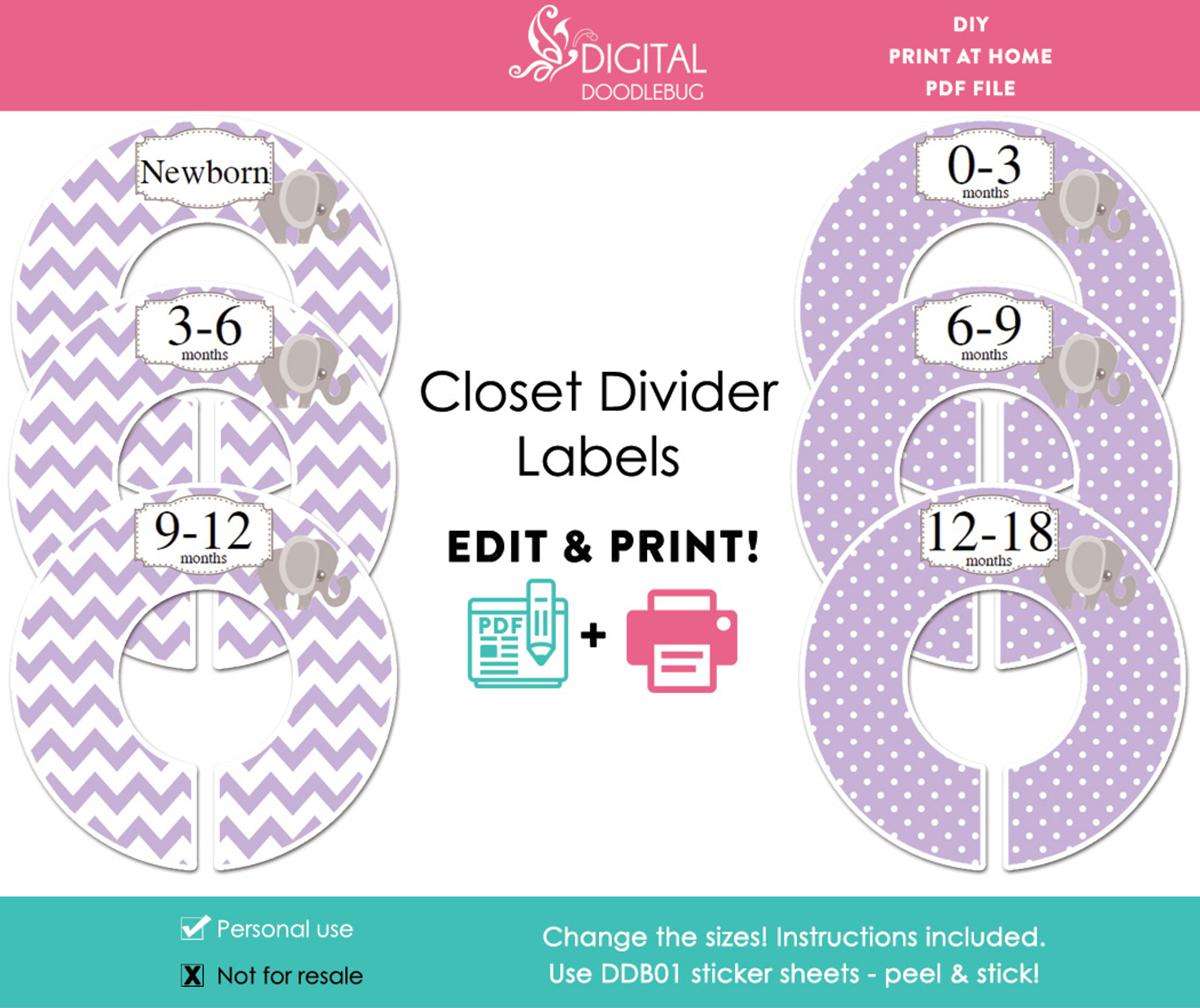 picture relating to Printable Closet Dividers named Pink Elephant Printable Closet Dividers