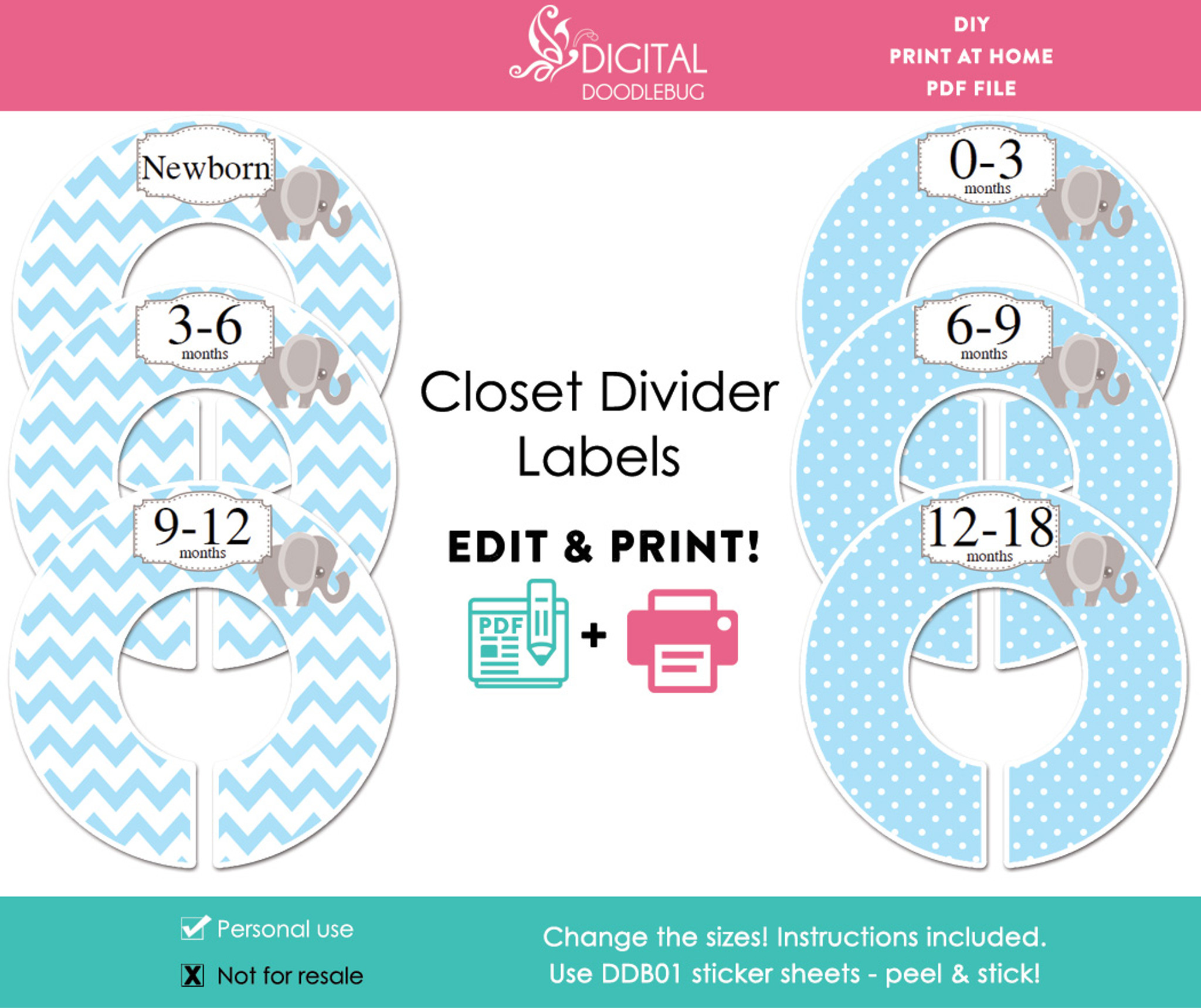image relating to Printable Closet Dividers identified as Blue Elephant Printable Closet Dividers