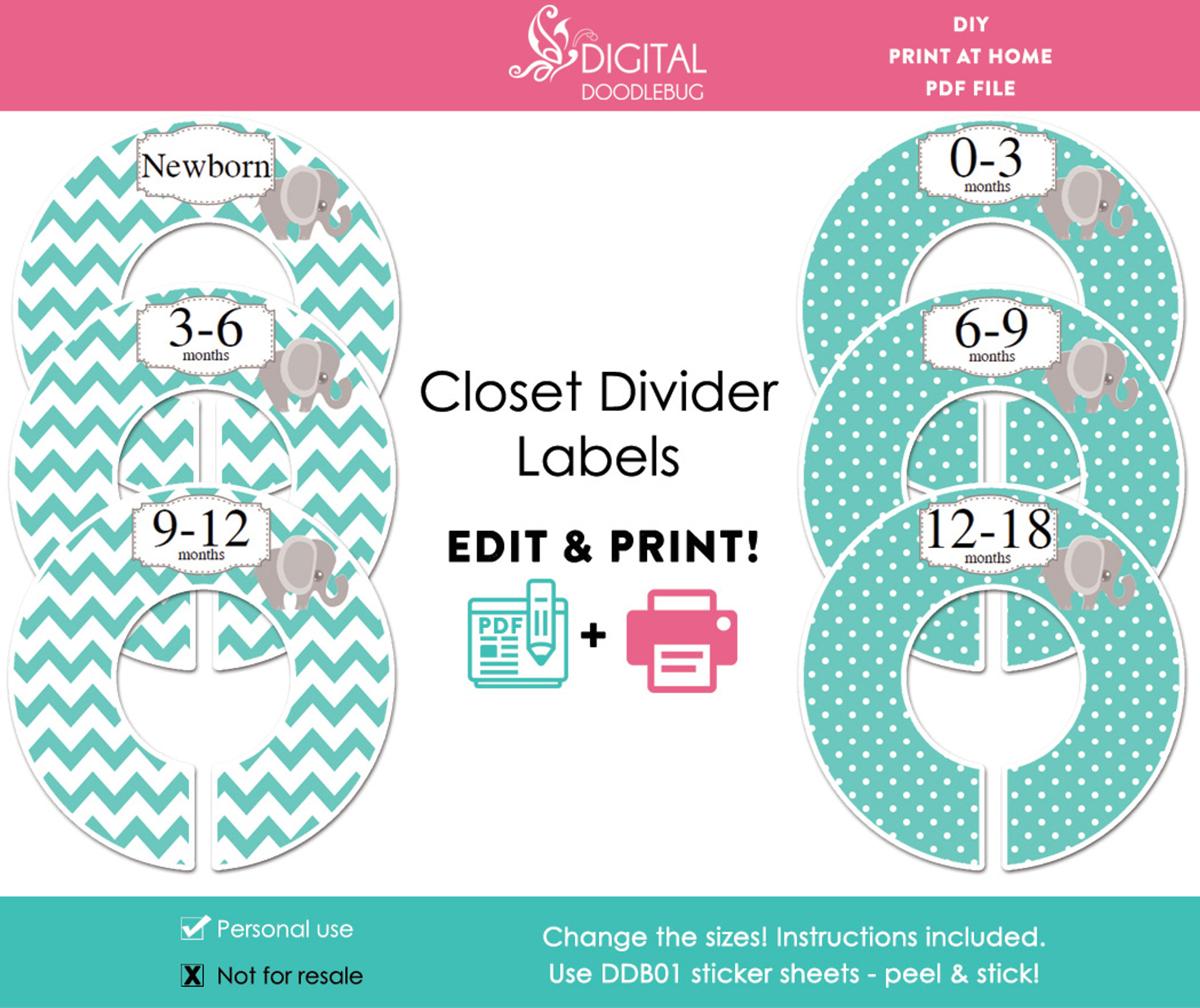 photograph relating to Printable Closet Dividers titled Turquoise Elephant Printable Closet Dividers