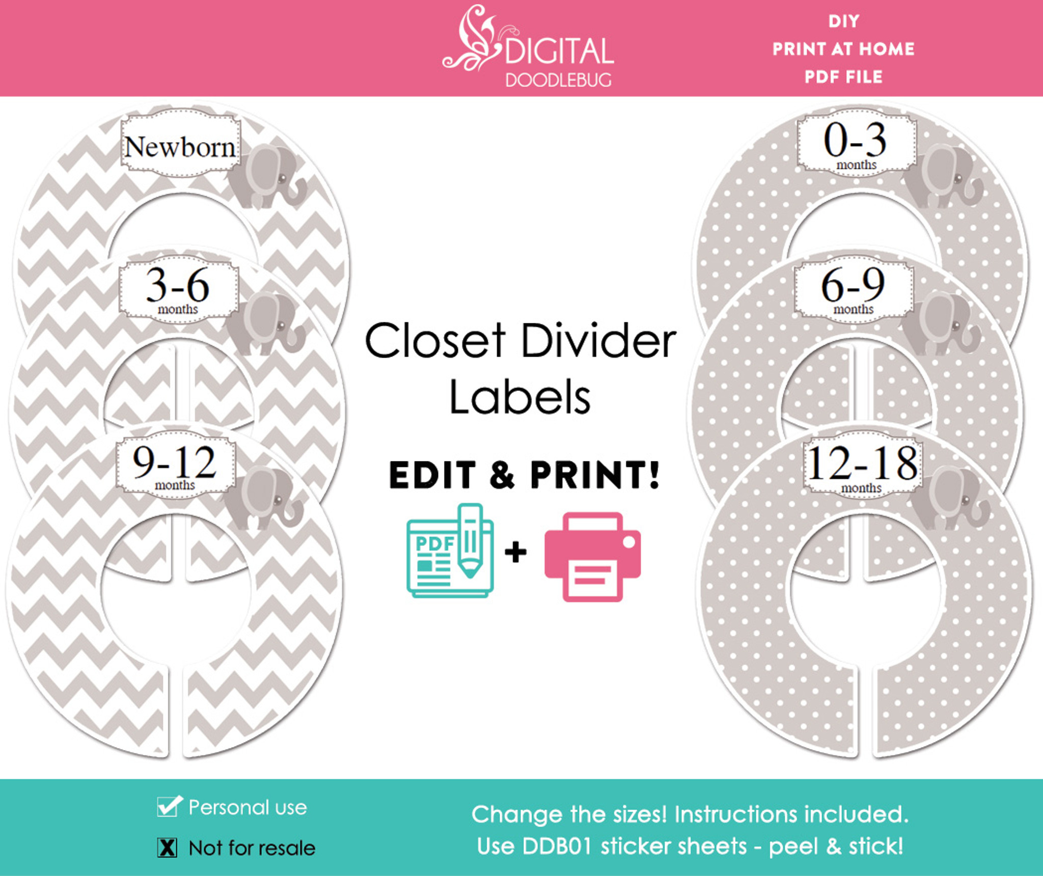 photograph regarding Printable Dividers identified as Grey Elephant Printable Closet Dividers