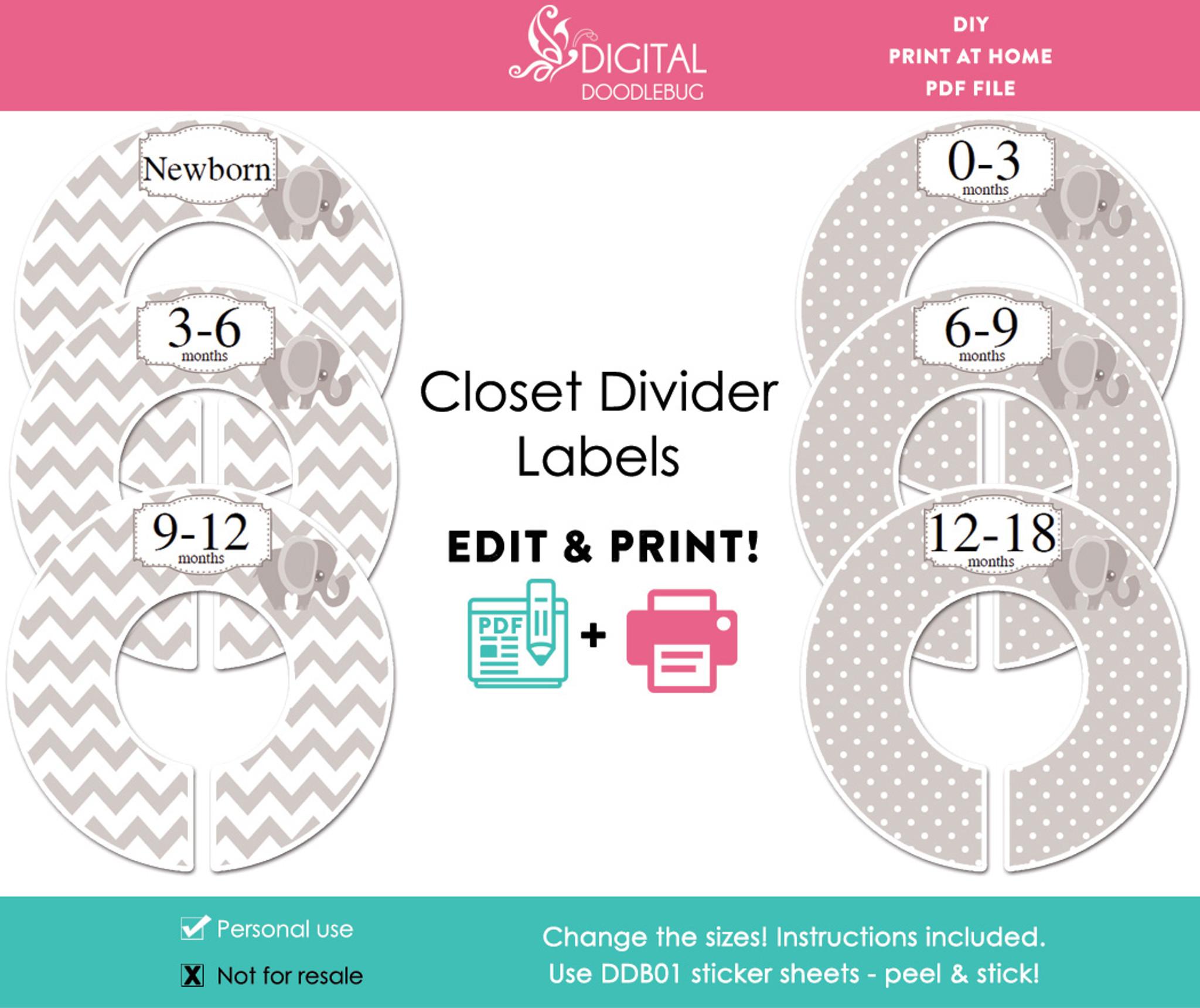 photograph regarding Printable Dividers identified as Grey Elephant Printable Closet Dividers