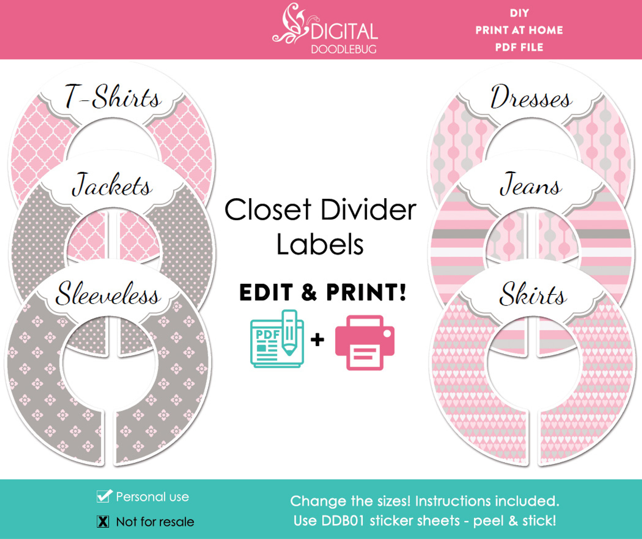 image regarding Printable Closet Dividers known as Red Grey Printable Closet Dividers