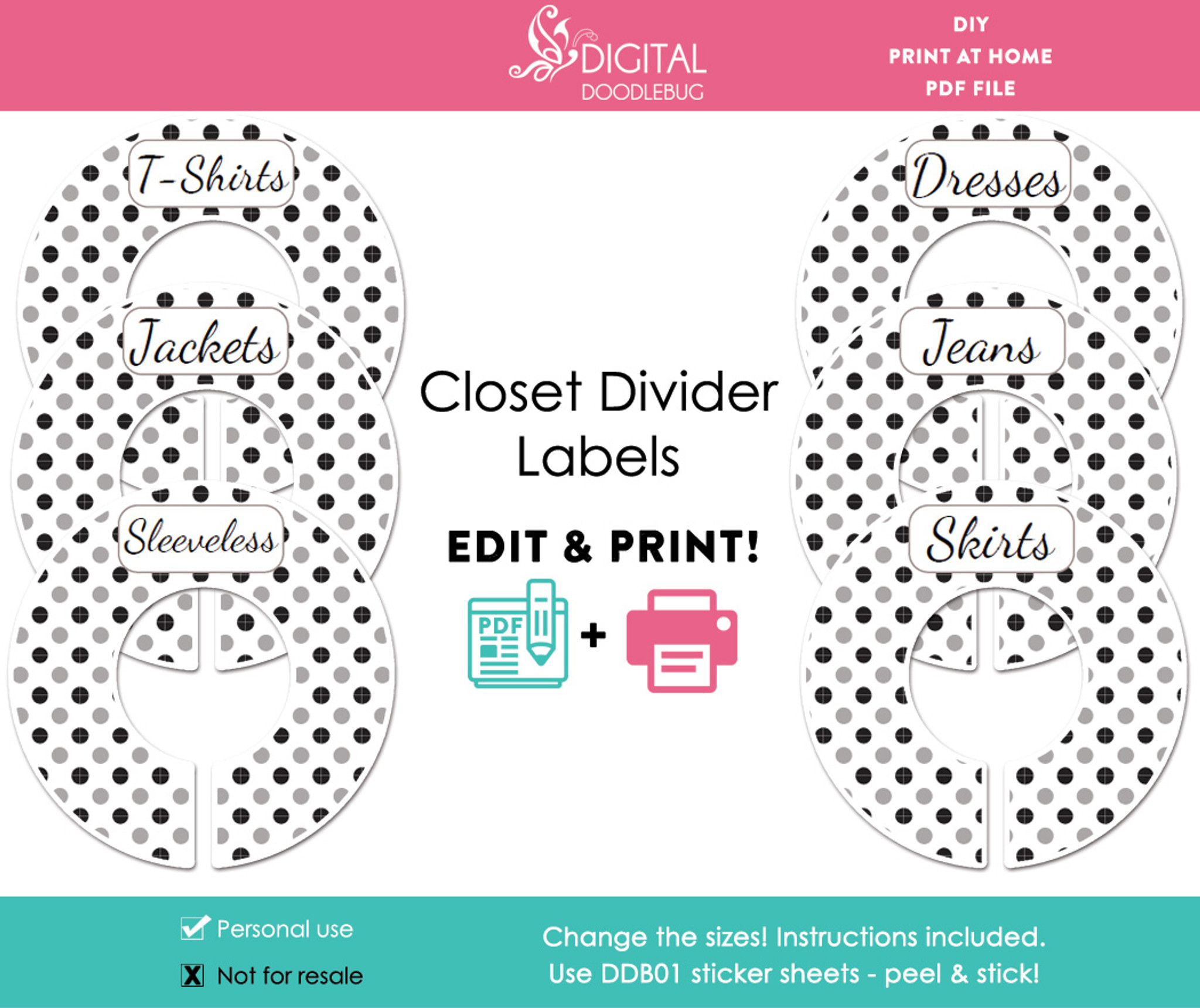 image about Printable Closet Dividers named Black Grey Polka Dot Printable Closet Divider Label Template