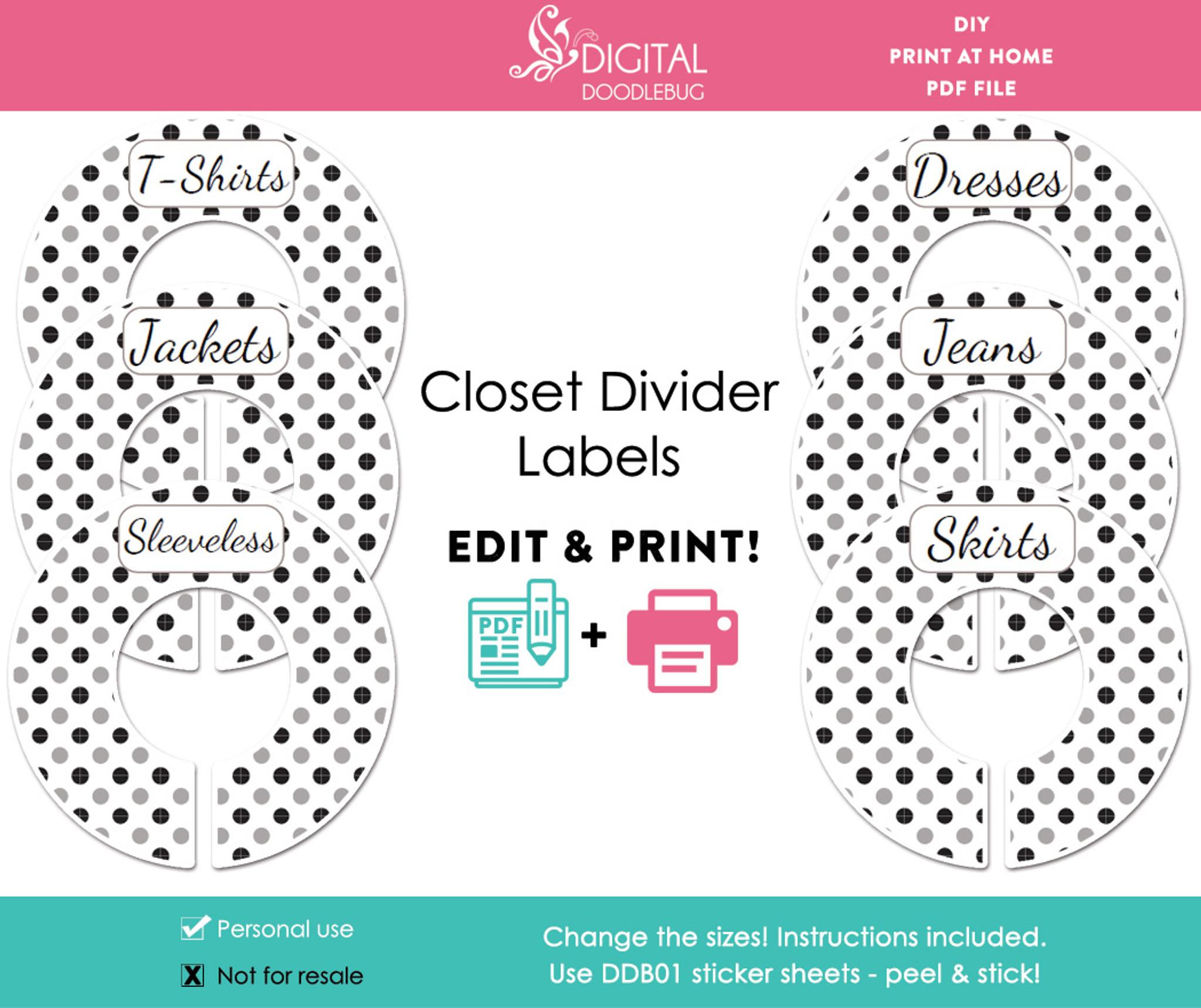 image regarding Printable Closet Dividers named Black Grey Polka Dot Printable Closet Divider Label Template