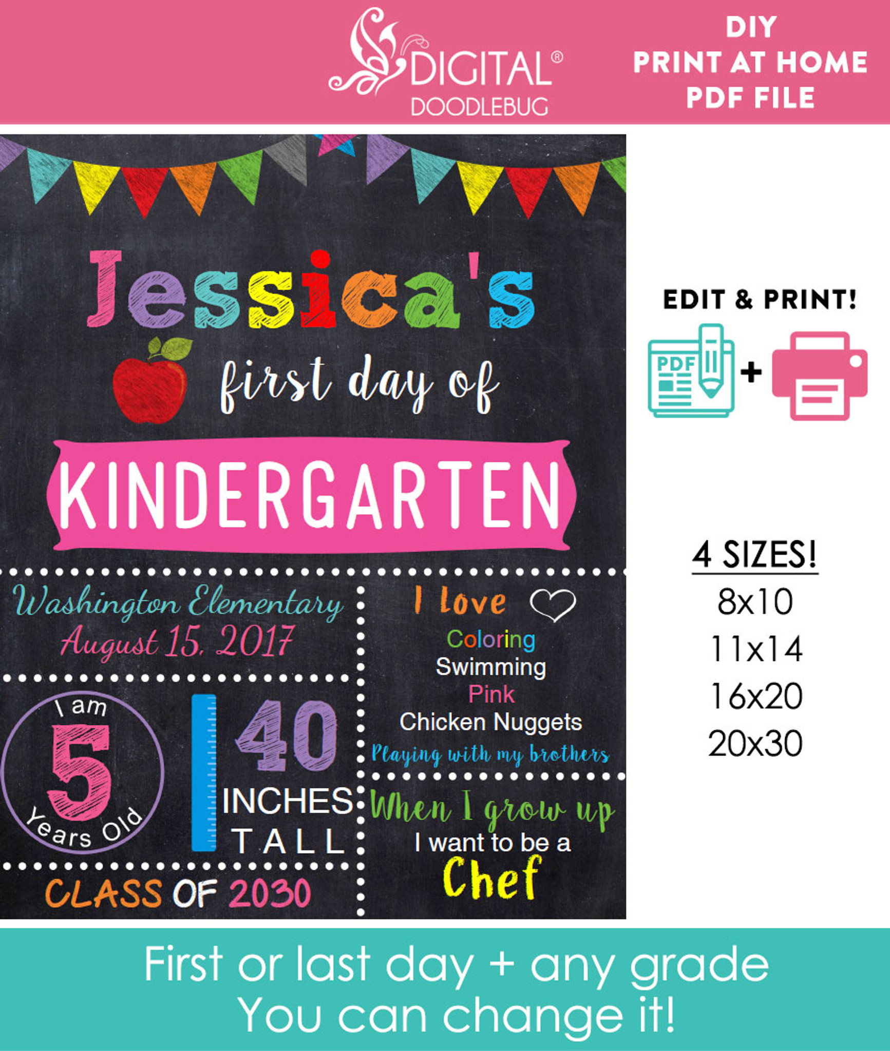 editable girls first day of school sign printable chalkboard poster 16x20