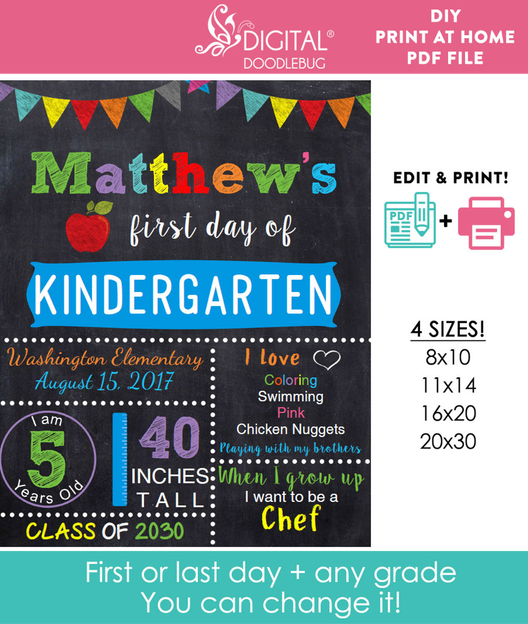 photo regarding Printable Baby Month Signs named Editable Blue Higher education Indicator Printable Poster
