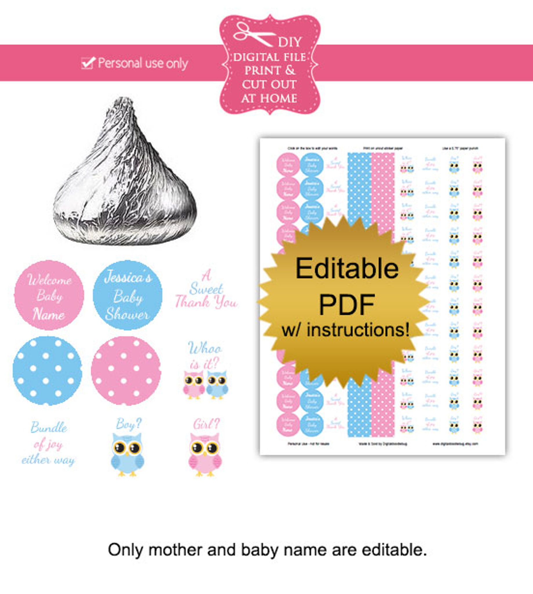 photo about Gender Reveal Printable named Gender Make clear Owl Printable Little one Shower Stickers