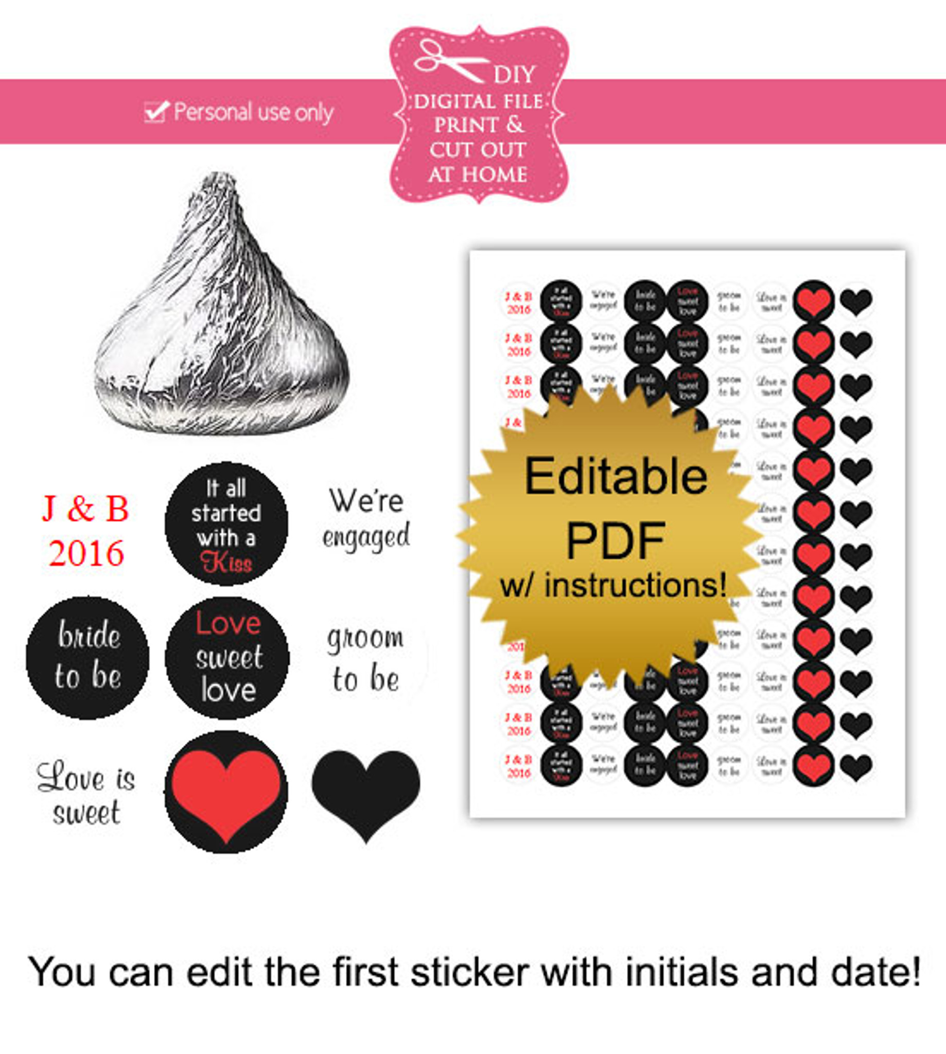 photo regarding Printable Candy Labels identified as Engaged Printable Sweet Stickers