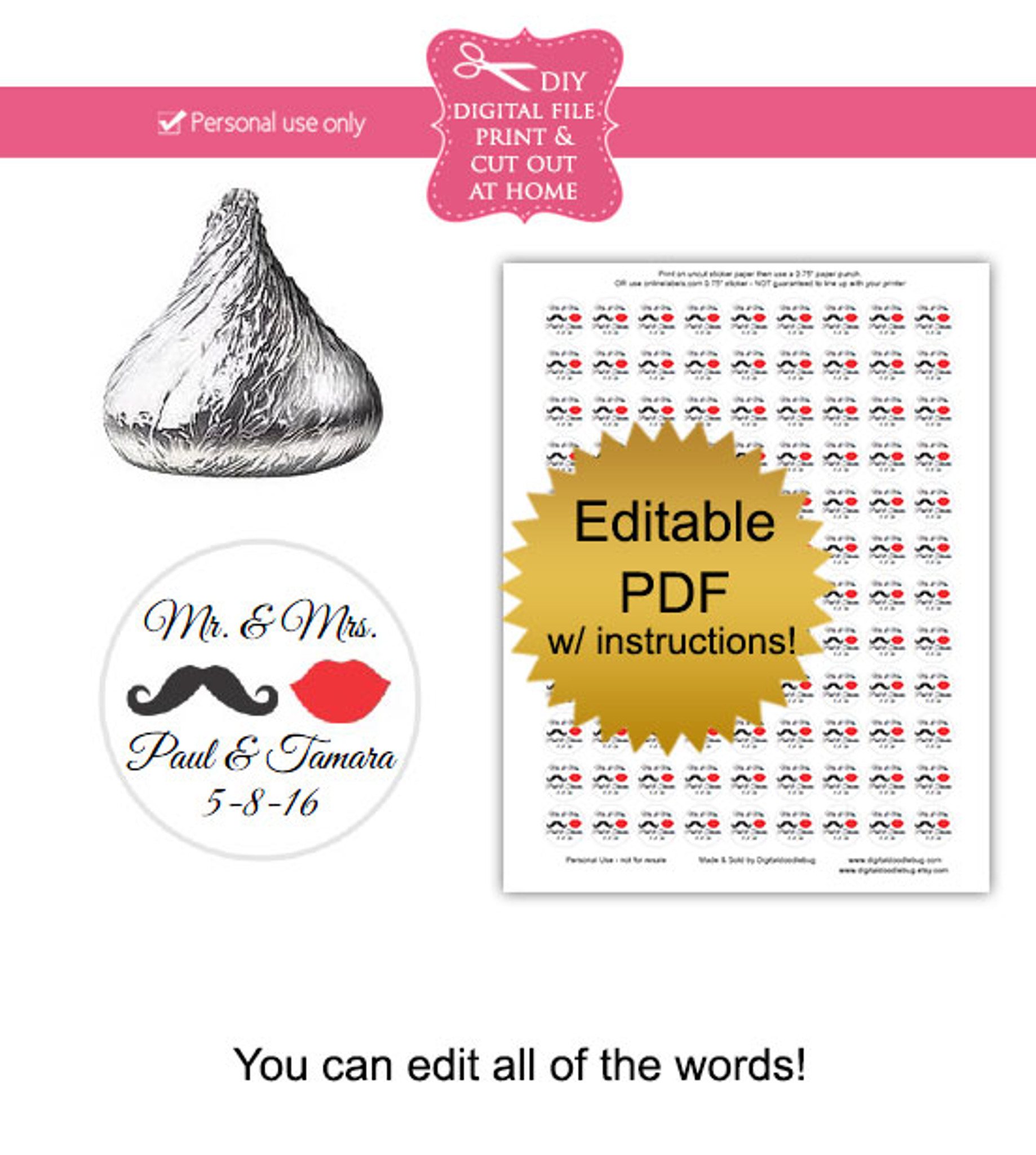 photograph regarding Printable Mustache and Lips known as Mustache Lips Printable Sweet Stickers
