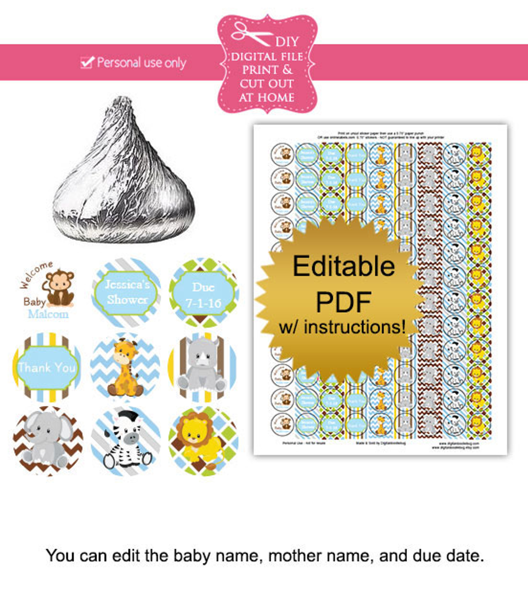 photograph relating to Printable Candy Labels named Jungle Pets Printable Sweet Stickers