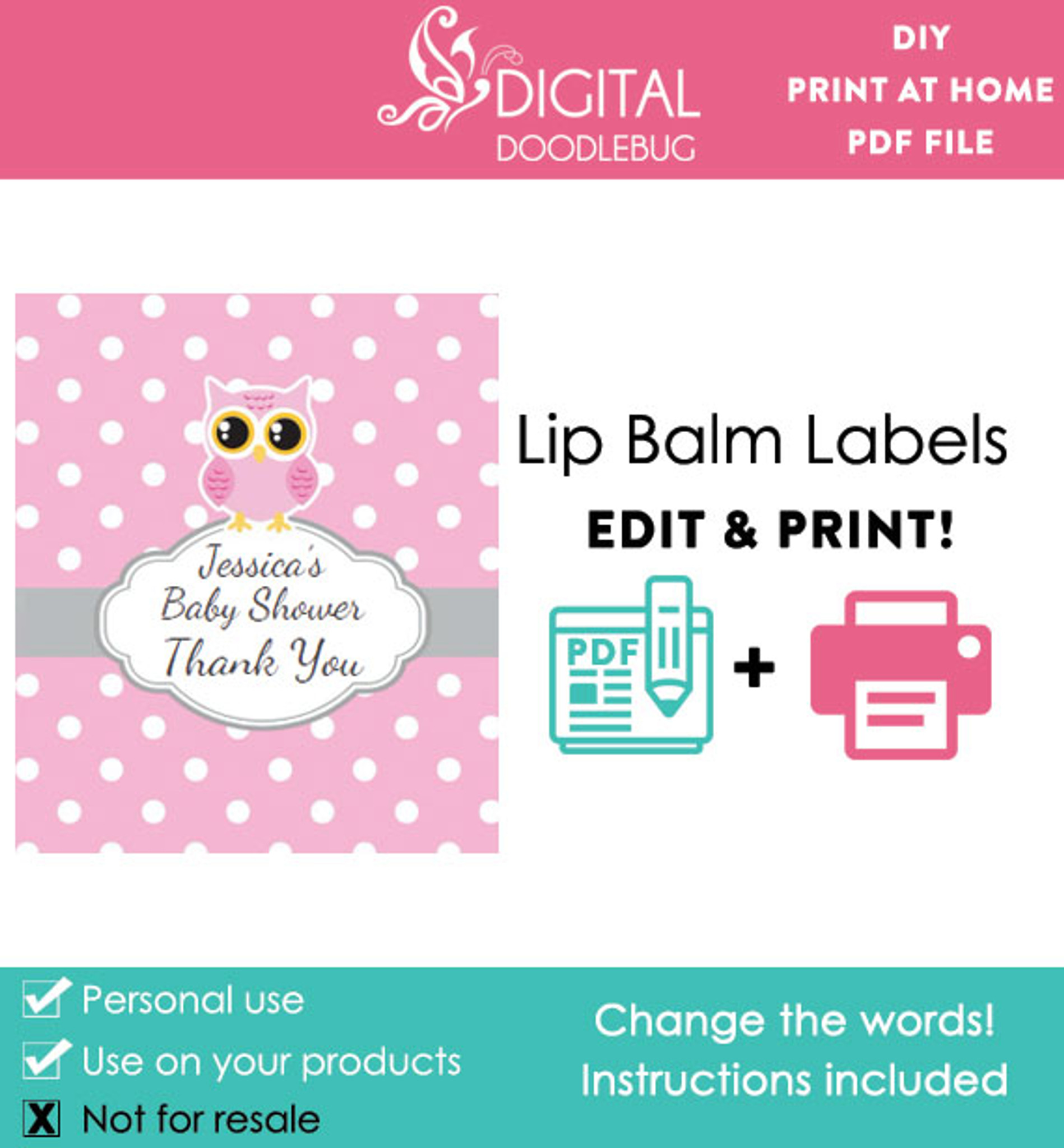 Pink Owl Printable Lip Balm Labels