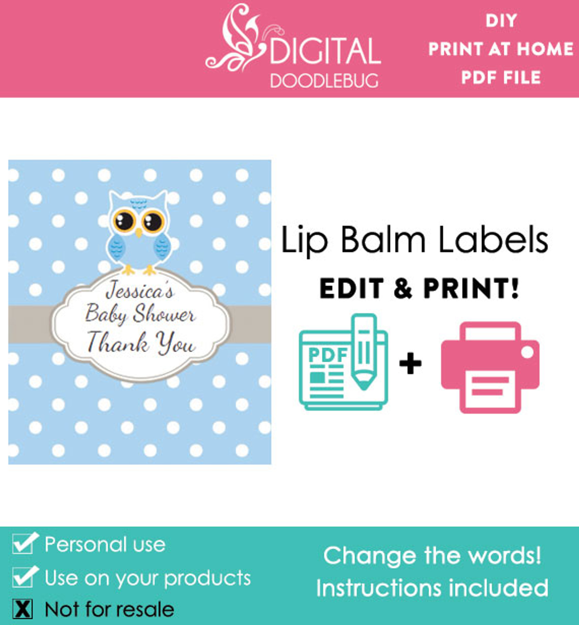 picture relating to Lip Printable identified as Blue Owl Printable Lip Balm Labels