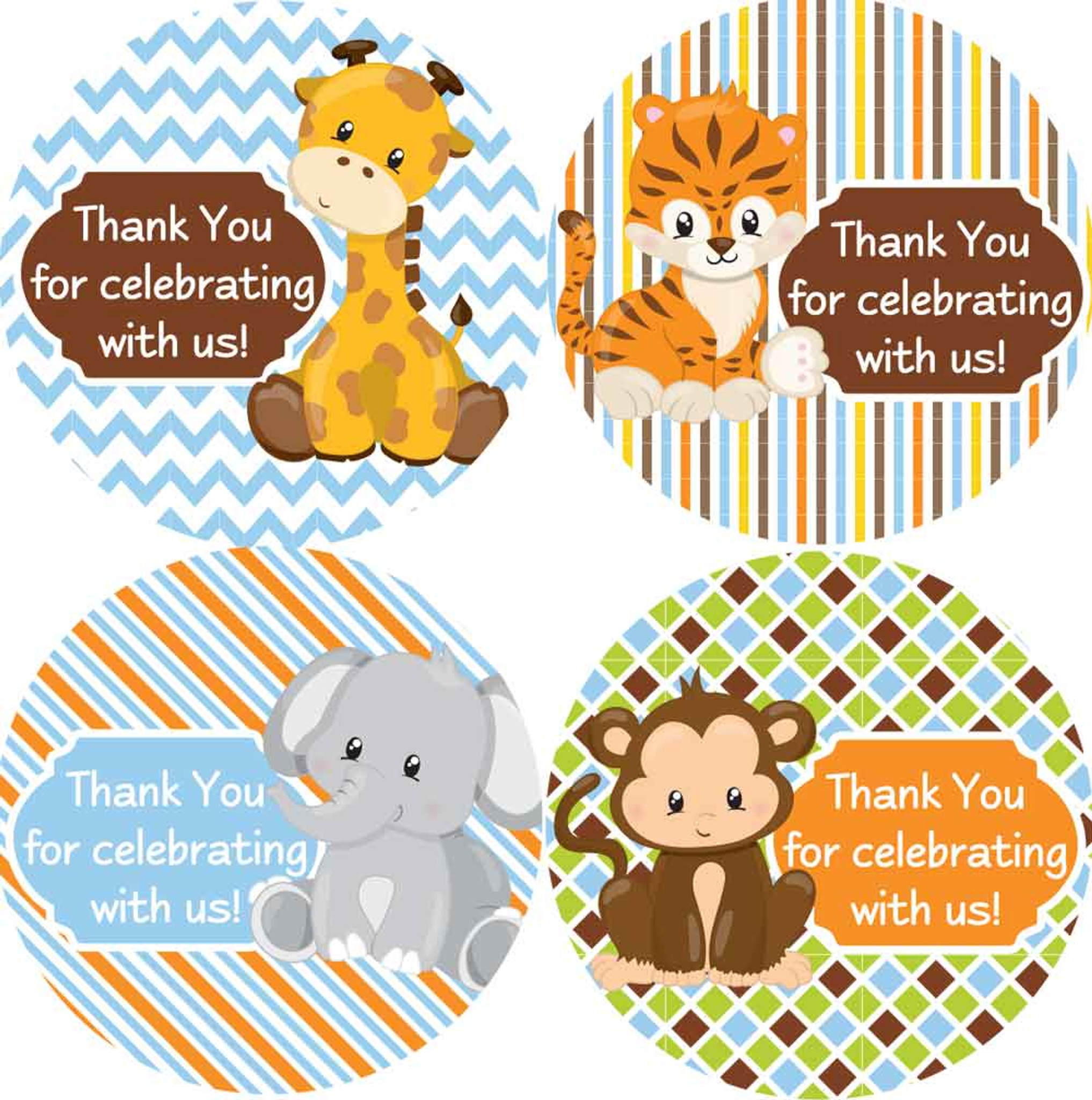 2 Inch Thank You Stickers Safari Animals 20 Labels