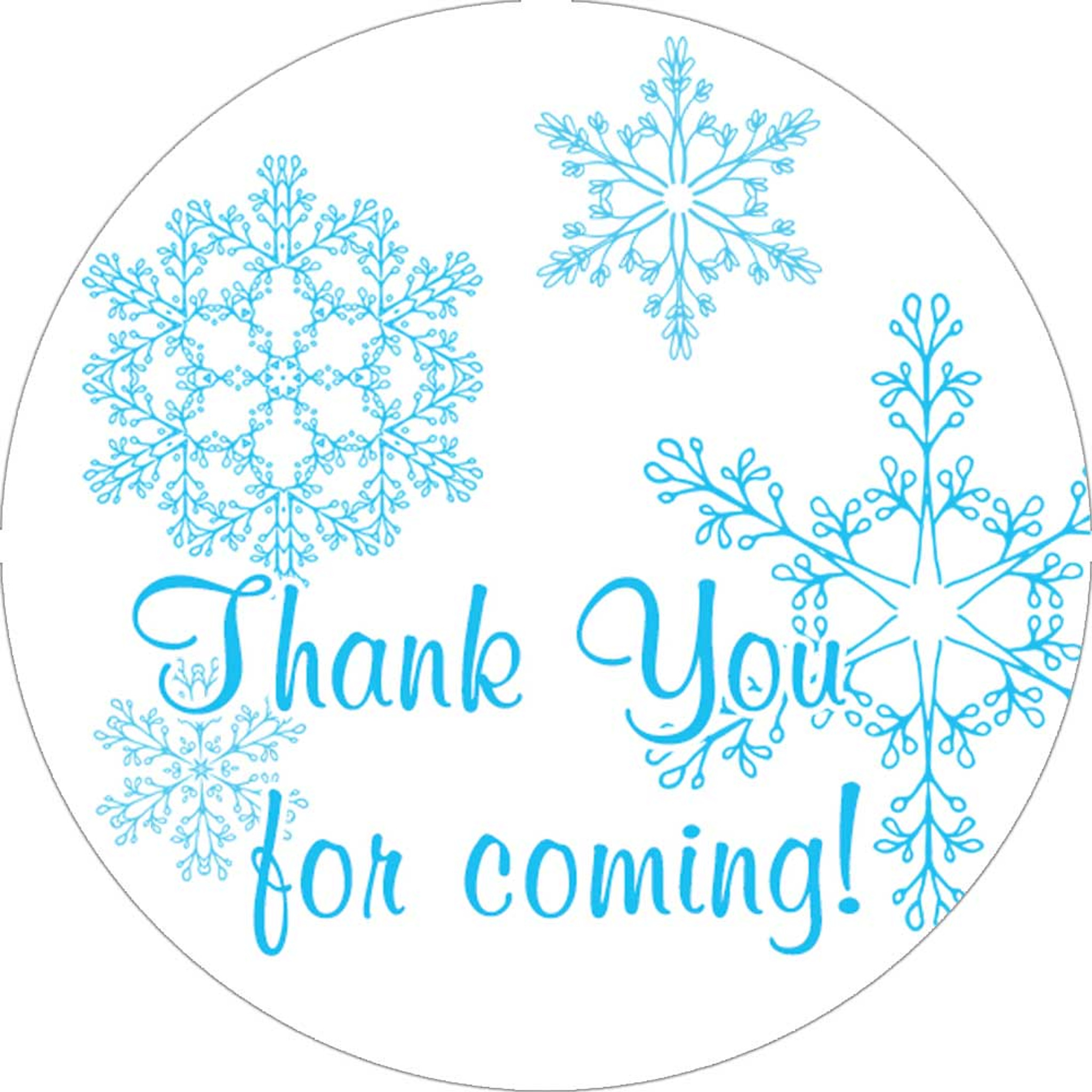 Winter Themed Wedding Stickers Blue Snowflake Thank You Favors