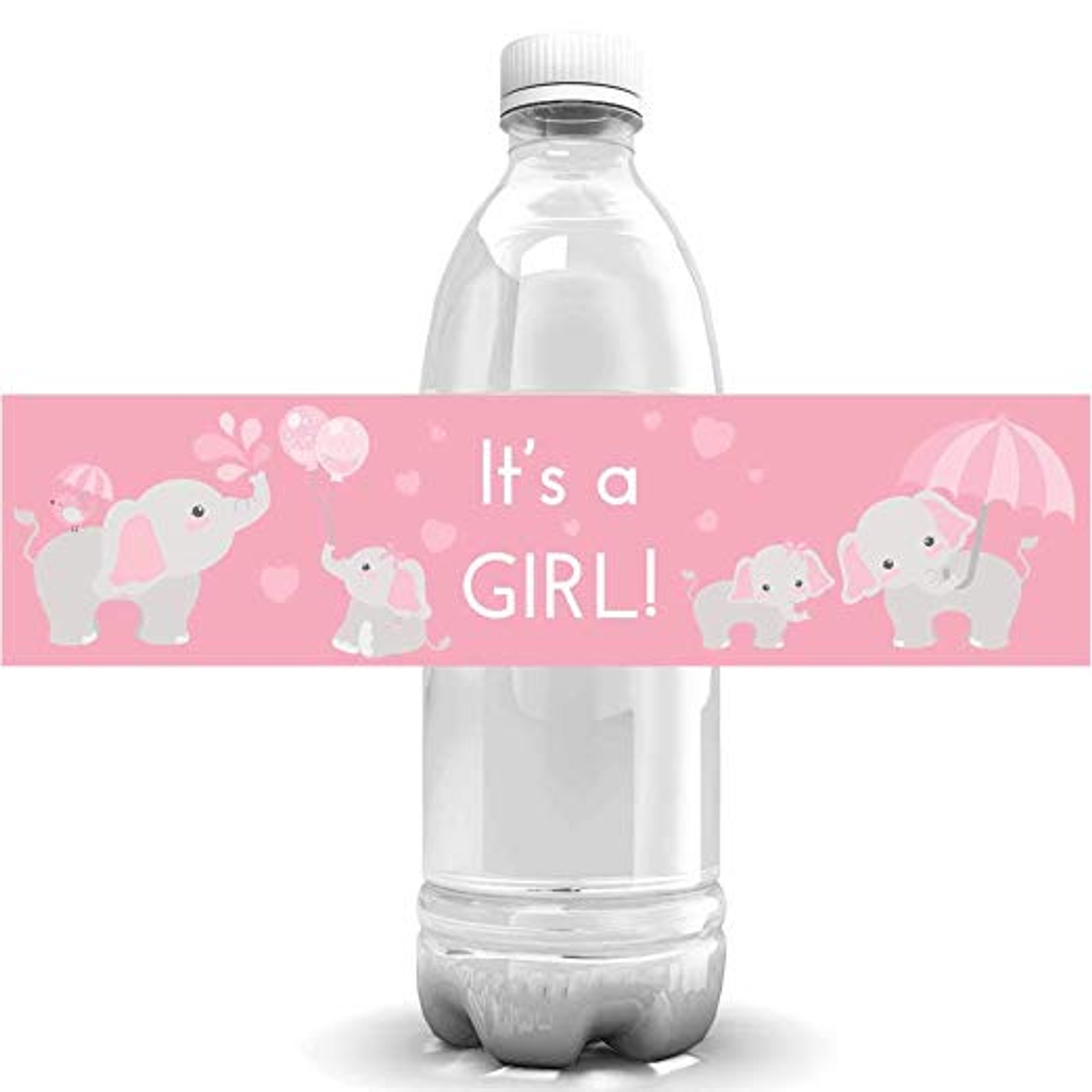 Water Bottle Labels Pink Elephant Girl Baby Shower Decor It S A Girl