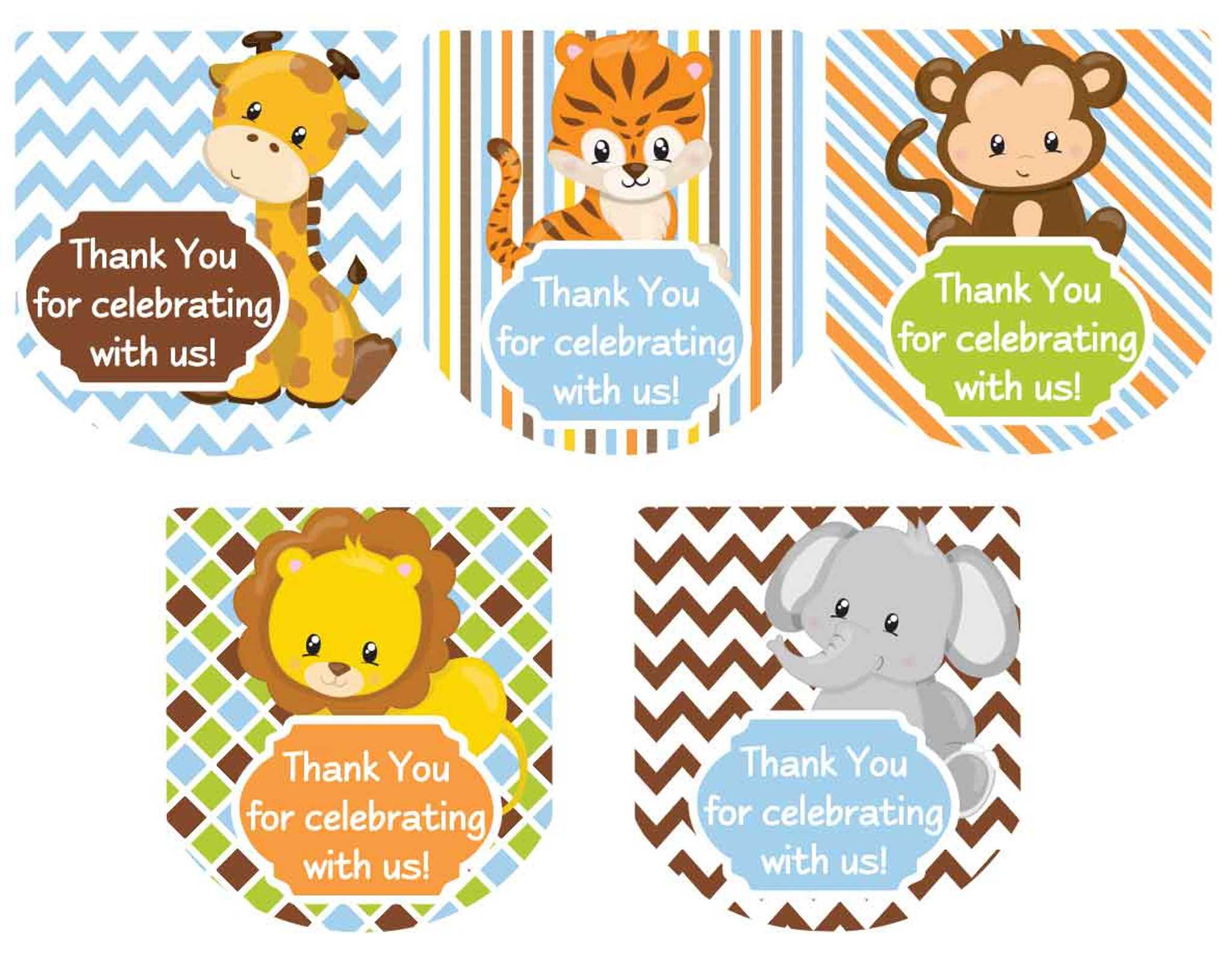 Hand Sanitizer Labels Safari Animals Boys Baby Shower Favors
